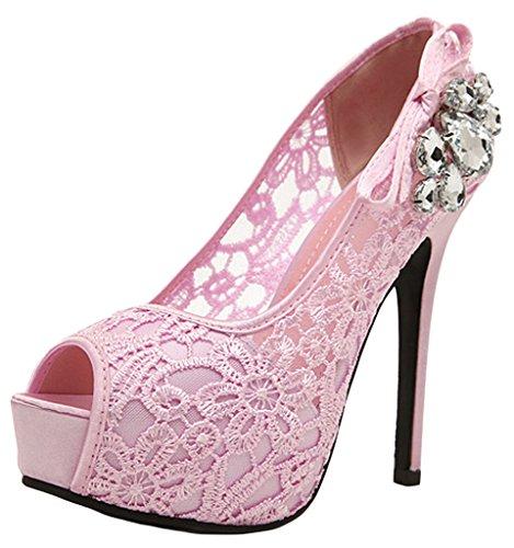 la vogue mujer zapatos de tacón alto 12cm fiesta noche encaje